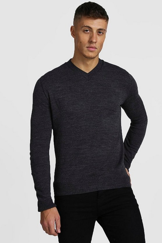 Muscle Fit V Neck Knitted Jumper by Boohoo Man