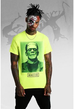 T-shirt à photo Frankenstein officiel, Jaune néon, Homme