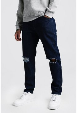 Mens Indigo Slim Rigid Jeans With Busted Knees
