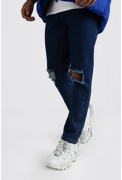 Mens Dark blue Slim Rigid Jeans With Busted Knees