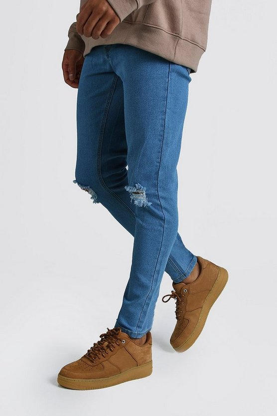 Skinny Jeans With Rip Knees by Boohoo Man