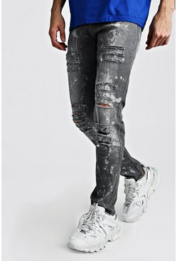 Mens Charcoal Skinny Ripped Jeans With Bleach Effect