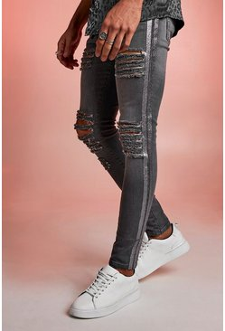 Grey Super Skinny Distressed Jeans With Glitter Tape