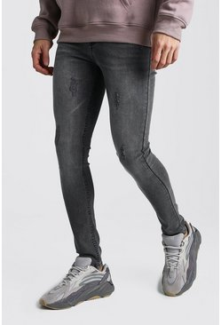 Dark grey Super Skinny Jeans With Abraisions