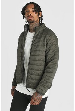 Mens Khaki Funnel Neck Quilted Jacket