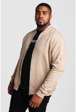 Mens Taupe Big and Tall MAN Script MA1 Jersey Bomber