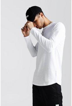 White Long Sleeve Curved Hem T-Shirt