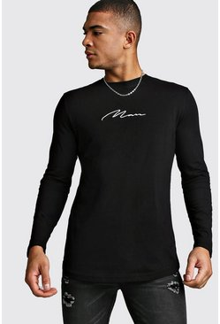 Mens Black Long Sleeve MAN Signature Curved Hem T-Shirt