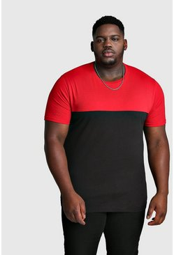 Mens Red Big And Tall Colour Block T-Shirt