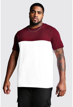 Mens Wine Big And Tall Colour Block T-Shirt