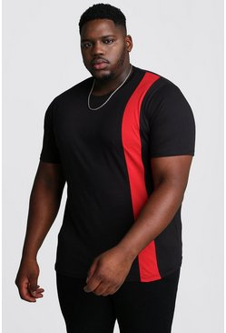 Mens Red Big And Tall T-Shirt With Vertical Colour Block