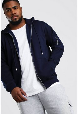 Navy Big And Tall MA1 Zip Through Hoodie