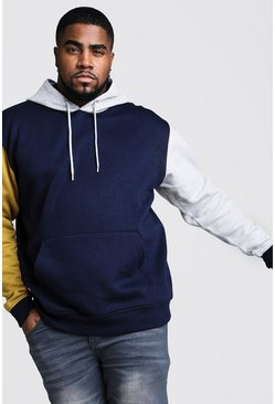 Mens Navy Big And Tall Colour Block Over The Head Hoodie