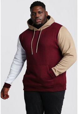 Big And Tall Colour Block Over The Head Hoodie, Wine