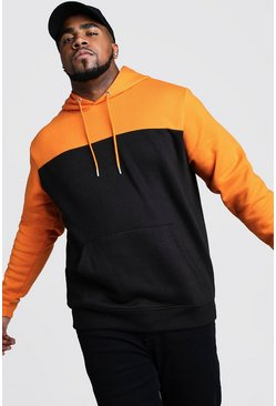 Mens Black Big And Tall Colour Block Hoodie