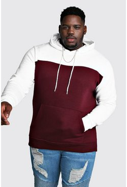 Mens Wine Big & Tall Colour Block Hoodie