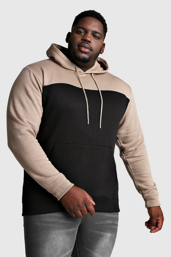 Black Big And Tall Colour Block Hoodie w/ Taupe
