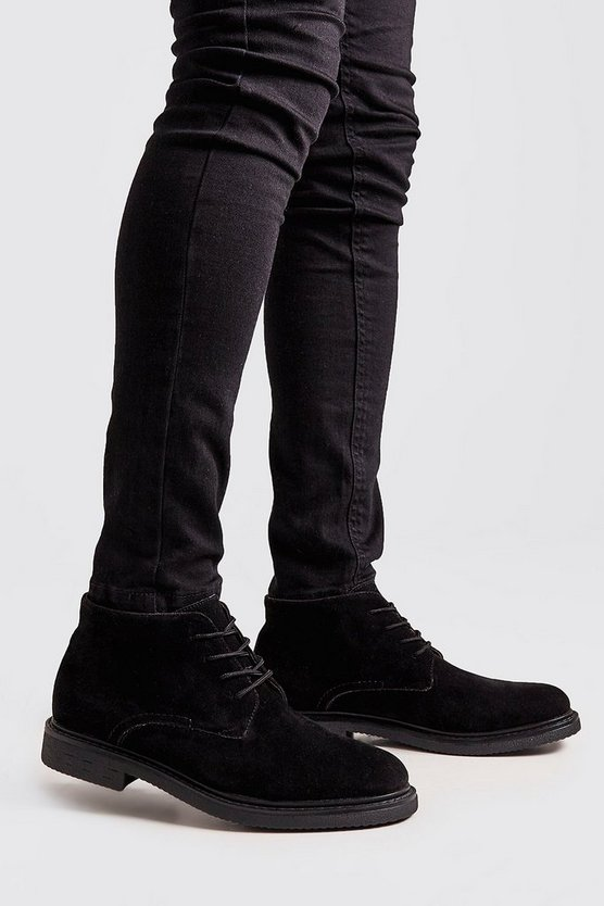 Mens Black Chunky Sole Real Suede Desert Boot