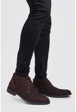 Mens Brown Real Suede Desert Boot