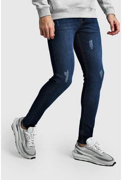Washed indigo Super Skinny Jeans With Abraisions