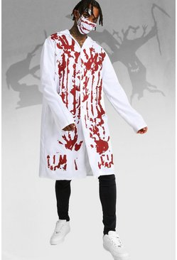 Mens White Halloween Blood Covered Doctor Costume