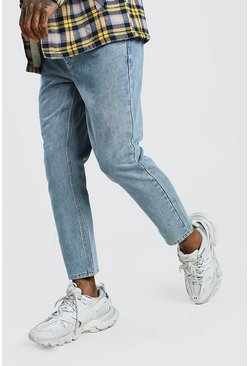 Light blue Tapered Jeans With Pleats