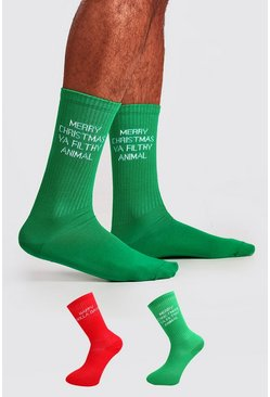 Multi 2 Pack Christmas Text Sock