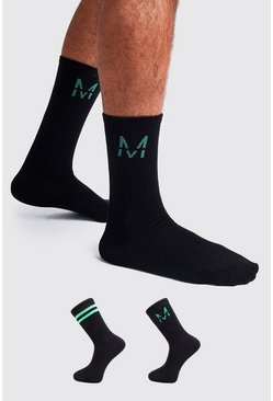 Mens Black 2 Pack M Green Metallic Sock