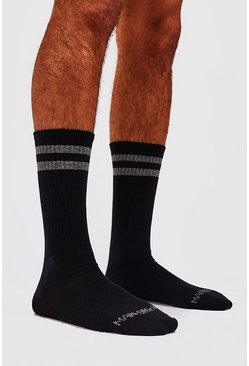Black 2 Pack MAN-Official Sport Stripe Sock