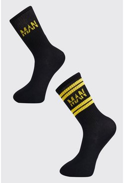 Black 2 Pack MAN Dash Sport Stripe Sock