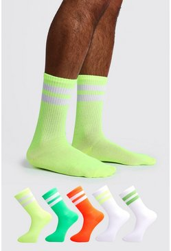 Multi 5 Pack Mixed Neon Sport Stripe Sock
