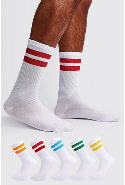 White 5 Pack Mixed Neon Sport Stripe Sock