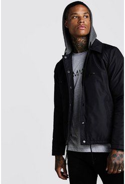 Mens Black Fleece Lined Harrington With Jersey Hood