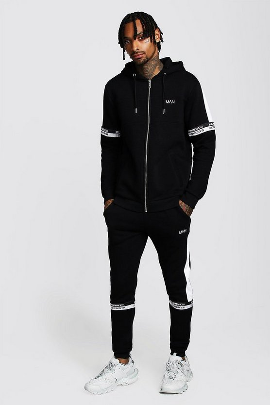 Mens Black Colour Block Zip Hooded Tracksuit With MAN Tape