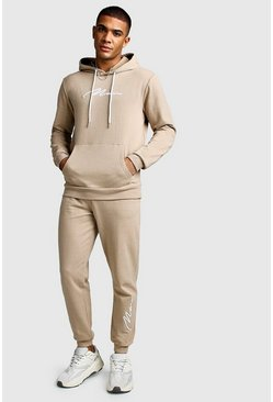 Mens Taupe 3D MAN Signature Embroidered Hooded Tracksuit