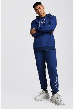 Mens Navy 3D MAN Signature Embroidered Hooded Tracksuit