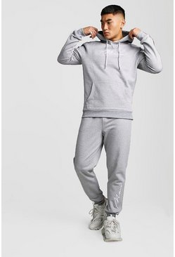 Grey 3D MAN Signature Embroidered Hooded Tracksuit