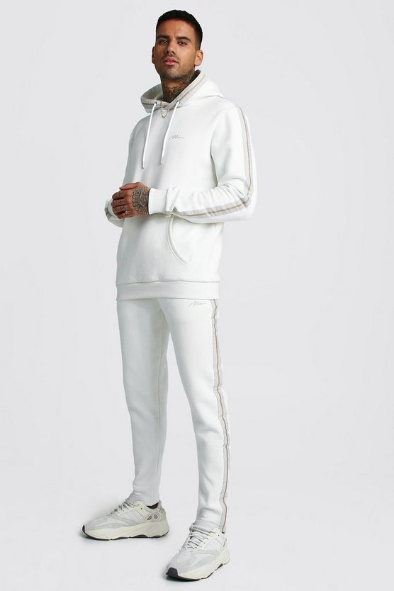 Mens Ecru MAN Signature Hooded Tracksuit With Tape Detail
