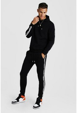 Mens Black Hooded Tracksuit With MAN Tape