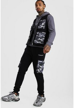 Black MAN Utility Vest & Jogger Set With Camo Pockets