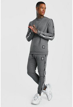 Mens Pearl Sweater Tracksuit With MAN Tape & Badge