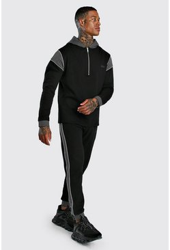 Black Original MAN Half Zip Panelled Tracksuit With Piping