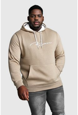 Taupe Big And Tall MAN Hoodie With Contrast Hood
