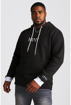 Mens Black Big And Tall MAN Hoodie With Contrast Detailing