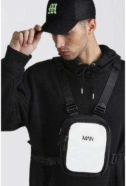 Mens Grey Reflective MAN Tab Chest Bag