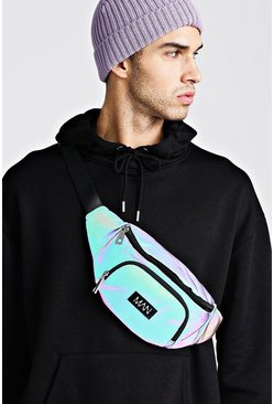 Mens Multi Rainbow Reflective Bumbag