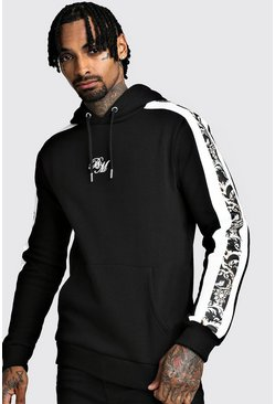 Mens Black B&M OTH Fleece Hoodie With Baroque Panels