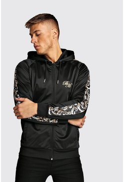 Mens Black B&M Zip Through Tricot Hoodie With Baroque Panels