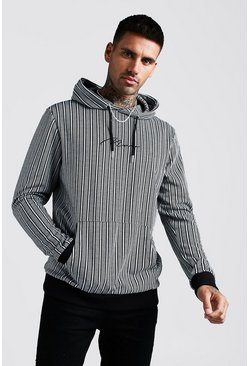 Black MAN Signature Jacquard Herringbone Stripe Hoodie
