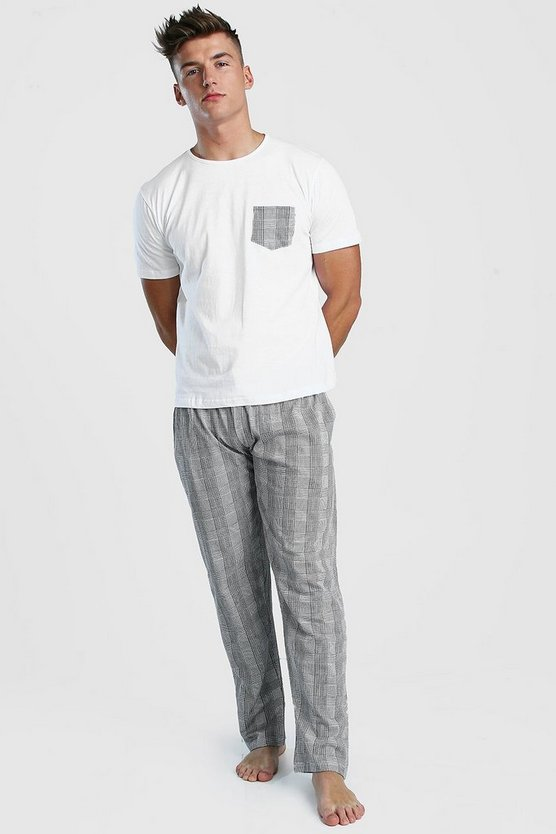 Mens Black Check Pant Lounge Set
